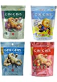 Gin Gins Gluten Free Vegan Ginger Candy 4 Flavor Variety Bundle: (1) Gin Gins Original, (1) Gin Gins Spicy Apple, (1) Gin Gins Peanut, and (1) Gin Gins Super Strength, 3 Oz. Ea.