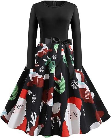 Womens Ugly Christmas Dress Vintage Long Sleeve Santa Snowflake Print Evening Party Flared Swing Dress