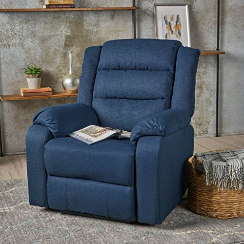 Adelande Cushioned Navy Blue Fabric Power Recliner - Blue Fabric Recliner