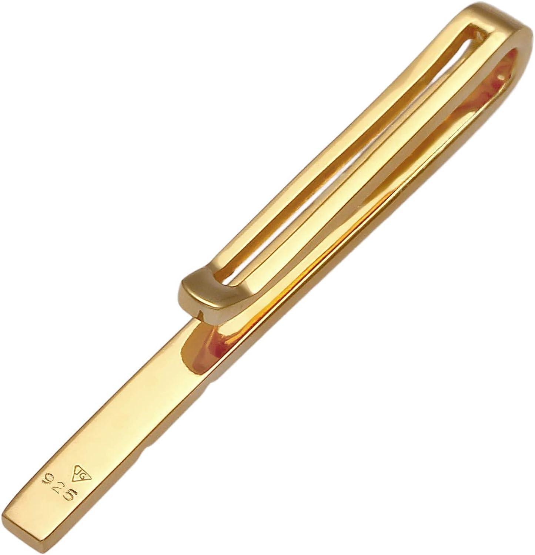 Kuzzoi Fermacravatta da uomo 3,5 mm placcato oro gioiello per uomo dal look elegante lucido per cravatte normali