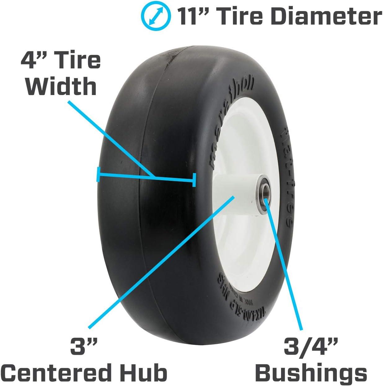 "Marathon 01410p 11 X 4.00-5/"" Smooth Tread Flat Free Lawn Mower Tire"
