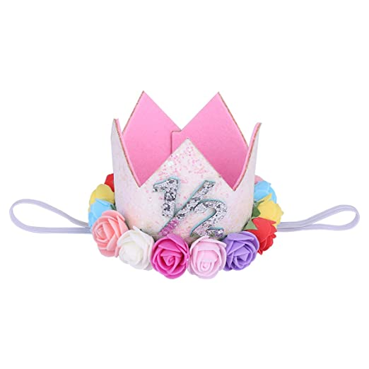 Aiernuo Baby First Birthday Crown Gold Flower Tiara Headband Birthday Party Hat