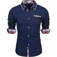 Sykooria Camisa para Hombre Slim Fit Easy Iron 100% Algodón Camisa Casual de Manga Larga Camisa de Vestir con Botones y…