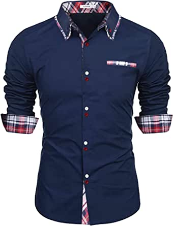 Sykooria Camisa para Hombre Slim Fit Easy Iron 100% Algodón Camisa Casual de Manga Larga Camisa de Vestir con Botones y Cuello a Cuadros Camisa de Vestir con Botones para Hombres Dos Tonos