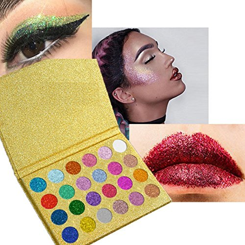 SUNTRIC 24 Color Highly Pigmented Diamond Glitter Rainbow Eye Shadow Palette Flash Shimmer Eyeshadow Make Up Palette by SUNTRIC (Image #3)