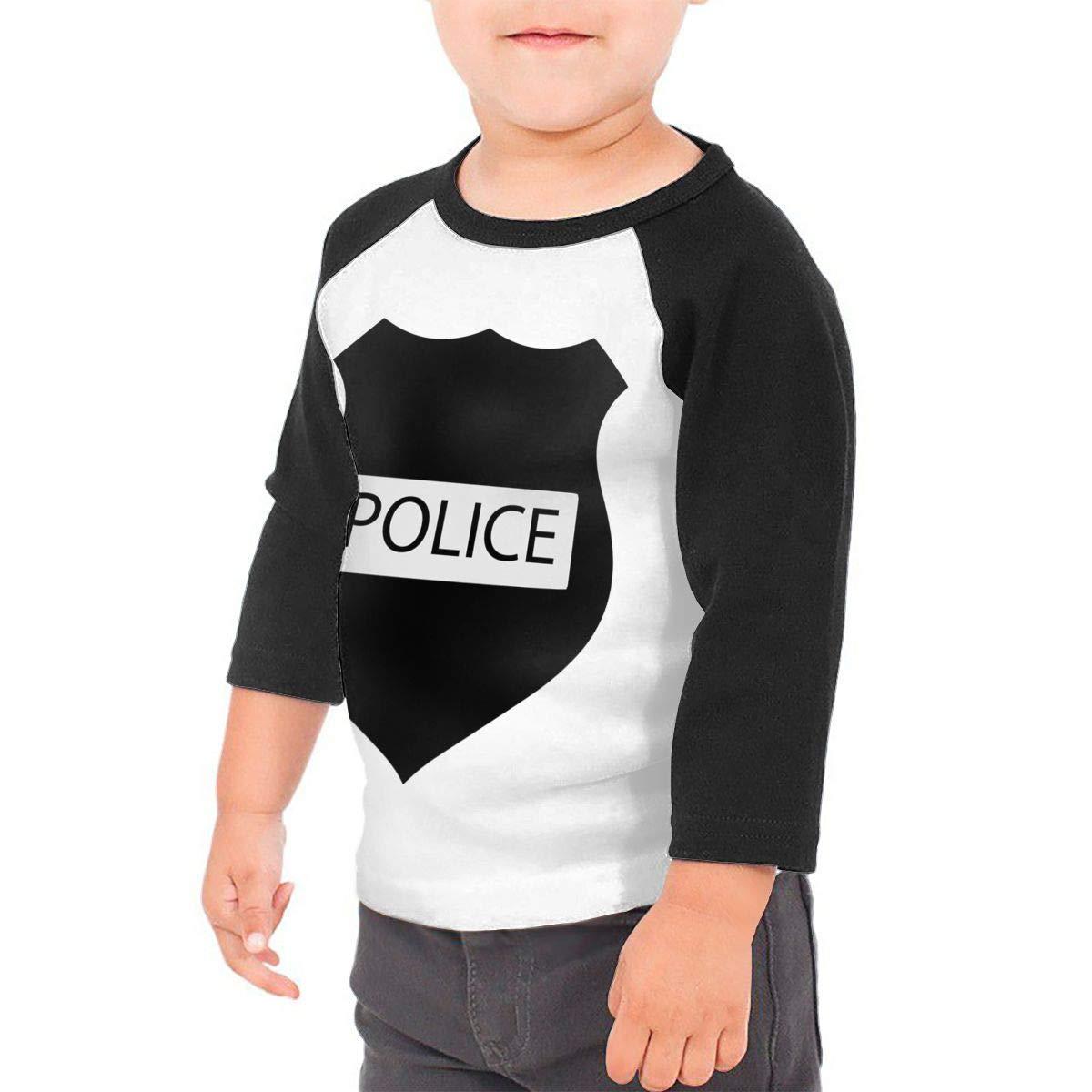 Kocvbng I Trust Police Black Raglan 3//4 Sleeves Shirts for Girl Boys