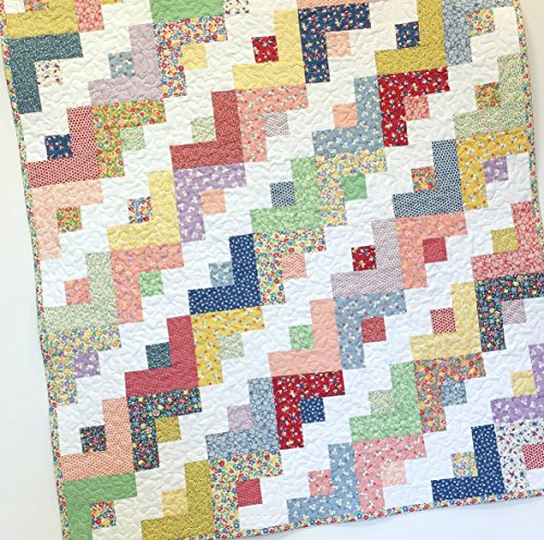 Baby Girl Quilt 1930s Style Log Cabin Nursery Crib Bedding by Carlene Westberg Designs