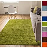 Solid Retro Modern Green Shag 3x5 ( 3'3'' x 5'3'' ) Area Rug Plain Plush Easy Care Thick Soft Plush Living Room Kids Bedroom