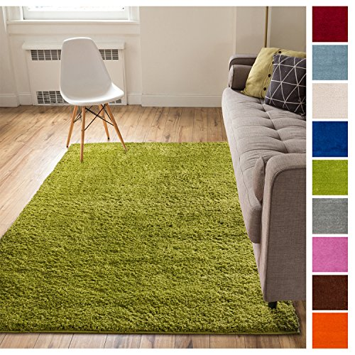 Solid Retro Modern Green Shag 5x7 ( 5' x 7'2'' ) Area Rug Plain Plush Easy Care Thick Soft Plush Living Room Kids Bedroom (Shag Rugs Kids)