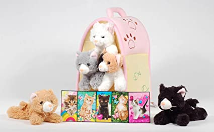 a34b114efc2 Image Unavailable. Image not available for. Colour  Unipak 12 quot  Plush  Cat House with Five Stuffed Animal ...