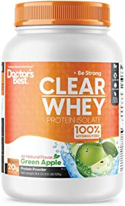 Doctor's Best Clear Whey Protein Powder Great Tasting & Non-Bloating Protein Isolate 100% Hydrolyzed, Muscle, Heart & Immunity Health, 20 Grams of Protein & BCAAs, Green Apple, 19.5 Oz