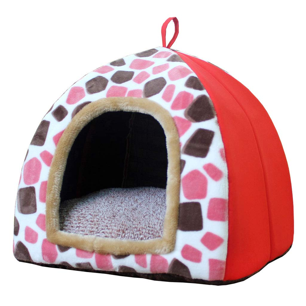 Red S 333333cm Red S 333333cm LITING Pet Kennel Cotton Nest Cat Litter Small Medium Size Cushion Removable And Washable Cute Yurt Shape (color   Red, Size   S 33  33  33cm)