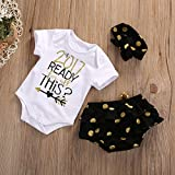 Baby Girl 3pcs Set Outfit 2017 READY THiS Romper +Short Pants+Headband