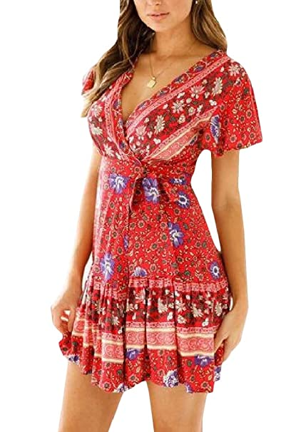 fe4813cf4d2 Pandapang Women s Sexy Floral Printed Ruffled V Neck Pleated Wrap Mini  Dresses at Amazon Women s Clothing store