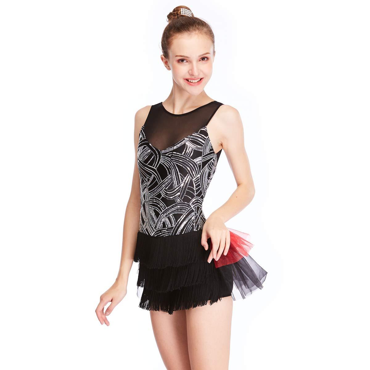 Noir MiDee Dance Costume Illusion en v Devant Retour subtiles Paillettes blanchÂtre géométriques MA