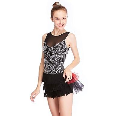 04928bcb6 MiDee Geometric Sequins Costume Jazz Dance Dress Illusion Wide V with Half  Fringes Half Tutu Skirt