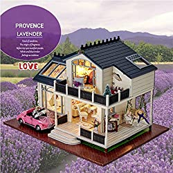 Provence Dollhouse Miniature DIY House Kit Creative Room with Furniture and Cover for Romantic Artwork the Best Choice for Gifts. (Large House with Led Light and Music)