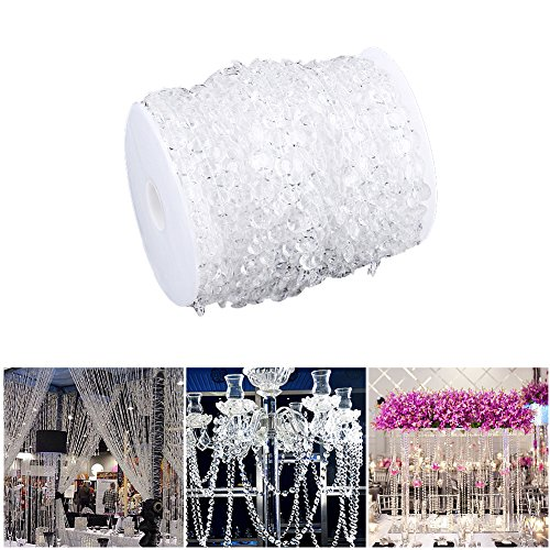 Yosoo Acrylic Clear Diamond Garland Strands Crystal Beads for Home Christmas Decoration Wedding Decoration - 99 ft