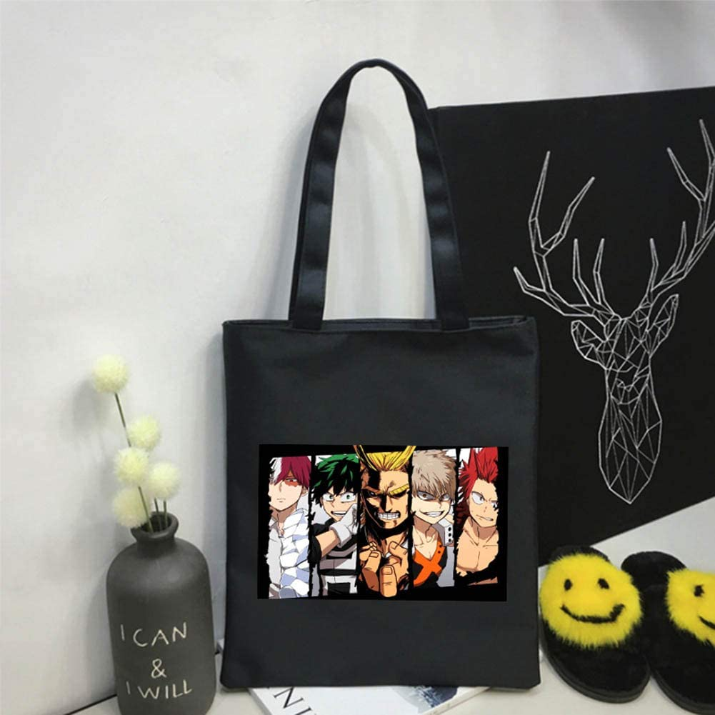 2 Silicone Bracelets 1 Tote Shoulder Bag 11 Buttons Brooch 50 MHA Stickers Stickers 1 BNHA Posters 1 Neck Strap ALTcompluser Anime My Hero Academia MHA Gift Set