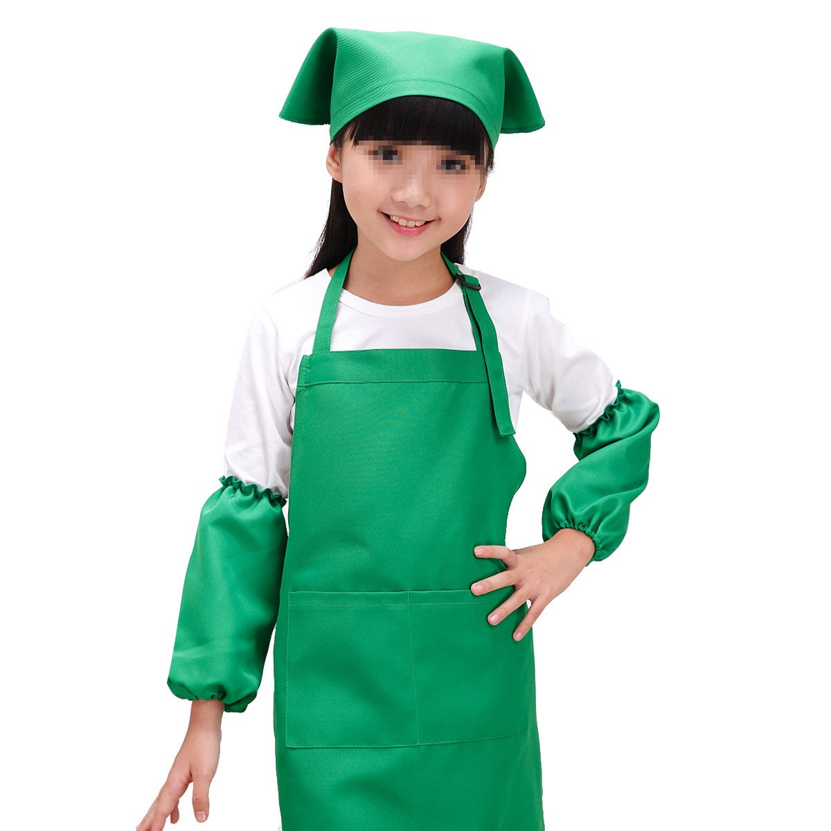 (Green) - SEADEAR Waterproof Anti-oil Adjustable Durable Children's Aprons Fashion Apron with Hat Sleeves For Painting Kindergarten Art Museum Cooking 7-12 years old(Green)  グリーン B074FS2SG9