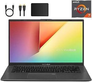 Newest ASUS VivoBook 14-inch FHD 1080p Laptop PC, AMD Ryzen 7 3700U, 12GB DDR4, 512GB PCIe SSD, Fingerprint Reader, Backlit Keyboard, AMD Radeon RX Vega 10 Graphics, W10 Home w/Mazery Accessories