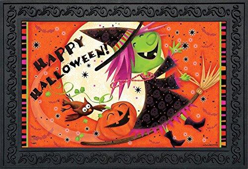 Briarwood Lane Flying Witch Halloween Doormat Full Moon Indoor Outdoor 18