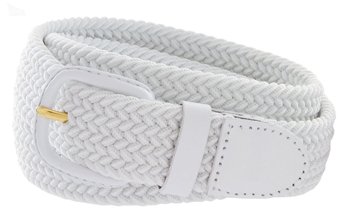 Mens WHITE Leather Covered Buckle Woven Elastic Stretch Belt 1-1//4 Wide S Size