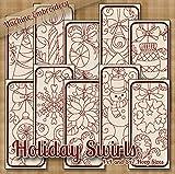 Holiday Swirls Redwork Embroidery Machine Designs on CD - Multiformat Pattern CD