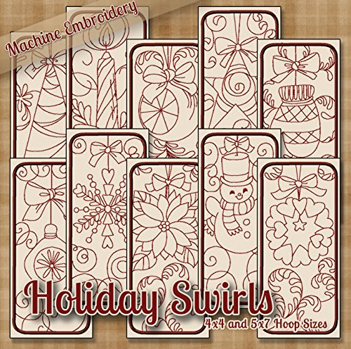 Holiday Swirls Redwork Embroidery Machine Designs on CD - Multiformat Pattern - Redwork Embroidery Christmas Machine