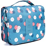 Toiletry Bag Multifunction Cosmetic Bag Portable Makeup Pouch Waterproof Travel Hanging Organizer Bag for Women Girls-Blue Flowers