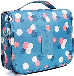 حقيبة أدوات زينة حقيبة مستحضرات تجميل متعددة الاستخدامات حقيبة مكياج محمولة حقيبة تنظيم قابلة للتعليق للسفر مقاومة للماء للسيدات والفتيات - زهور زرقاء
