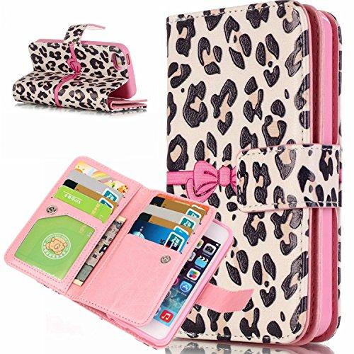 Voguecase® für Apple iPhone 5C hülle, Kunstleder Tasche PU Schutzhülle Tasche Leder Brieftasche Hülle Case Cover (Pink Schleife / Leopard 01) + Gratis Universal Eingabestift