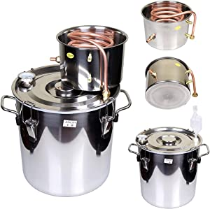 Goetland 5 Gallons Moonshine Still Spirits Kit Water Alcohol Distiller Home Brew Wine Making Kit Oil Boiler Copper Tube Stainless Steel