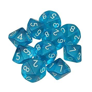 D10 Rot Zehn Seitige Juwel W/ürfel F/ür RPG Dungeons /& Dragons Spiele Satz Von 10 W/ürfel Blau