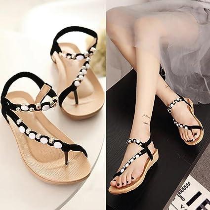 567d27b7694cc1 Amazon.com  Hemlock Women Girl Bohemia Flat Sandals Peep Toe Sandals Shoes  (US 8.5
