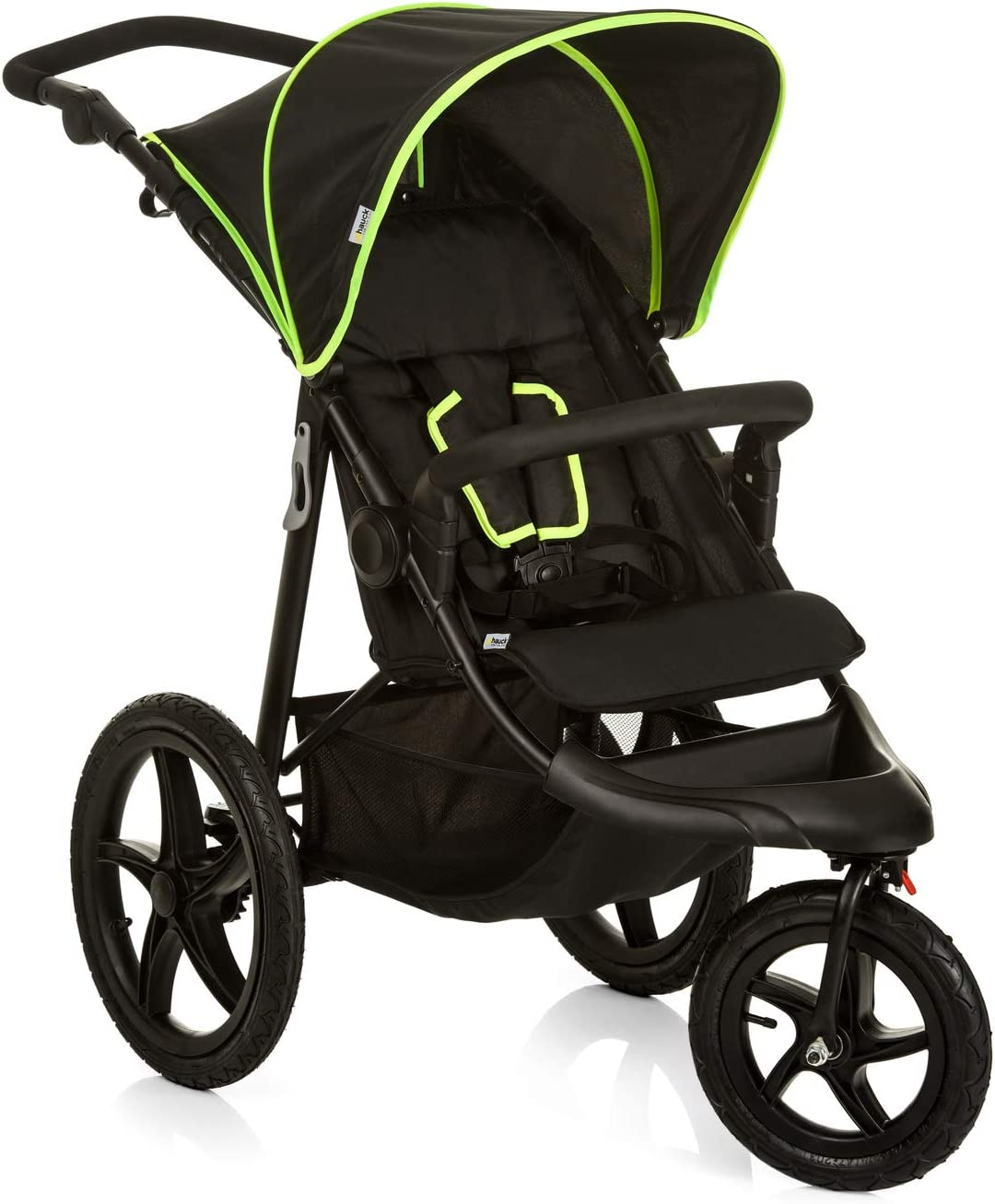 Hauck Runner - Silla de Paseo con 3 Ruedas Neumaticas, Plegado Compacto, Ruedas XL, con Camara de Aire, para Recien Nacidos, apto para Niños hasta 25kg, color Negro (Black Neon Yellow)