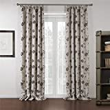 """IYUEGO Wide Curtains 120Inch-301Inch for Large Windows Beige Jacqaurd Country Double Pleated Top Blackout Curtains Drapes With Multi Size Custom 150"""" W x 96"""" L (One Panel)"""