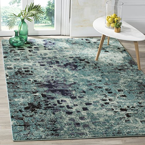 Dining Collection Light - Safavieh Monaco Collection MNC225J Modern Abstract Watercolor Light Blue and Multi Distressed Area Rug (8' x 11')
