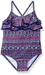 Carter\'s Little Girls\' One Piece Ruffle Top Swimsuit, Purple, 6