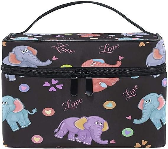 Elefante de Dibujos Animados con corazón de Amor Mujer Bolsa de Maquillaje de Viaje Estuche de Tren cosmético portátil Bolsa de Aseo Organizador de Belleza: Amazon.es: Equipaje