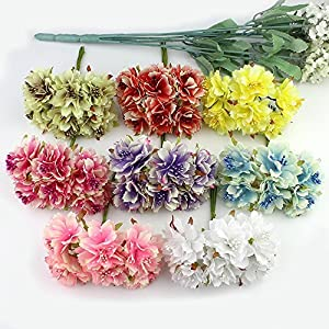6Pcs 4Cm Artificial Carnation Flowers Stamen Silk Flower Bouquet For Wedding Decoration DIY Scrapbooking Fake Flower 92