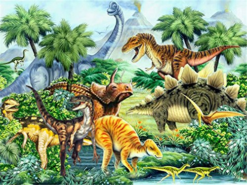 LIPHISFUN 5D DIY Diamond Painting Full Drill Square Resin Rhinestone Embroidery Unfinished Cross Stitch Home Decor Gift Forest Dinosaur(30x40cm)