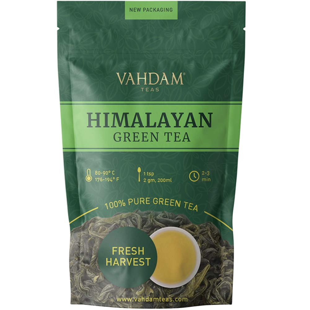 VAHDAM, Green Tea Leaves from Himalayas (50 Cups), 100% Natural Tea, POWERFUL ANTI-OXIDANTS, Brew Hot Tea, Iced Tea or Kombucha Tea, Green Tea Loose Leaf, 3.53oz by VAHDAM