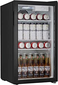 Beverage Cooler and Fridge With Glass Reversible Door Beverage Refrigerator (3.2 cubic feet)