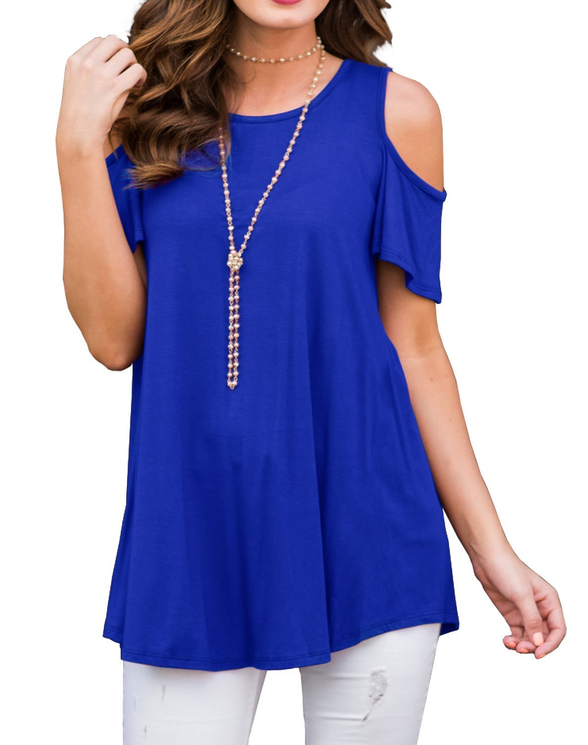 UniDear Women's Short Sleeve Casual Cold Shoulder Tunic Tops Loose Blouse T-Shirts Royal Blue L