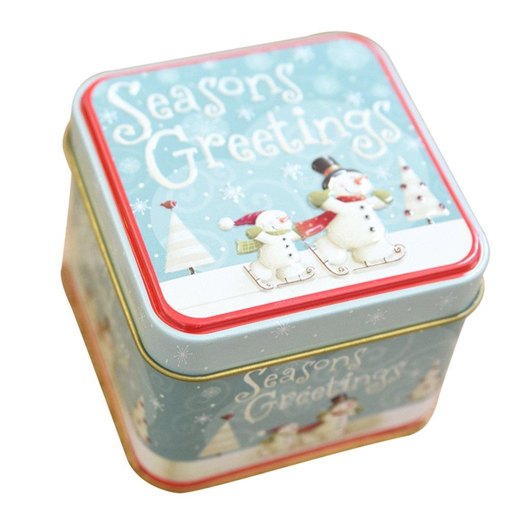 attachmenttou Square 1 Pcs Iron Box With Lids Candy Case Christmas Gift Wedding Kicode