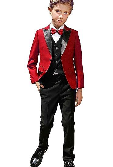 Amazon Com Yeoyaw Boys Red Black Classic Slim Fit Tuxedo Suits Set