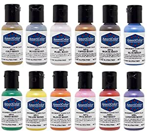 Americolor 12 Color SHEEN - PEARLESCENT Airbrush Color Kit  7.8 oz.  Ounce (0.65 Oz each bottle)