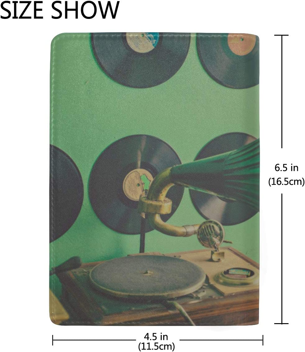 Old Gramophone With Horn Speaker Blocking Print Passport Holder Cover Case Travel Luggage Passport Wallet Card Holder Made With Leather For Men Women Kids Family