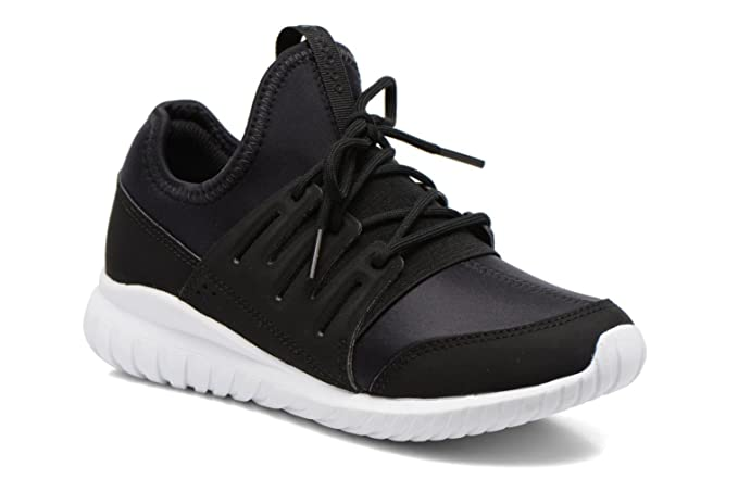 793bc36827d Amazon.com  Adidas Tubular Radial Kids Trainer - Black Black White - 11 UK  Kids  Clothing